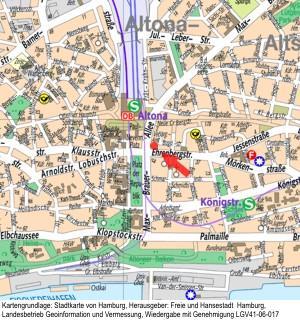 Kartengrundlage: Stadtkarte von Hamburg, Herausgeber: Freie und Hansestadt Hamburg, Landesbetrieb Geoinformation und Vermessung, Wiedergabe mit Genehmigung LGV41-06-017